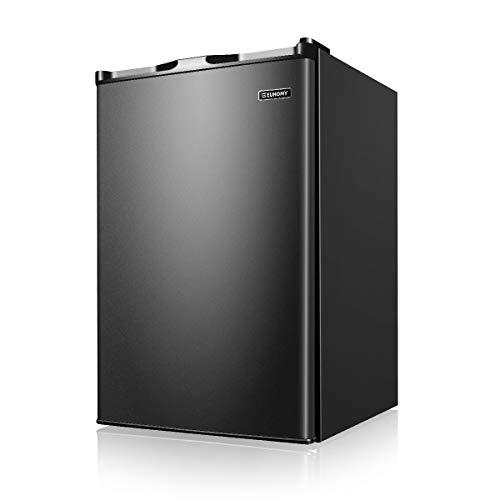 Euhomy Upright Freezer, Energy Star 3.0 Cubic Feet,Compact Single Door Freezer with Reversible Stainless Steel Door,Mini Freezer for Home/Dorms/Apartment/Office(Black)