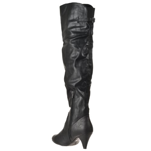 Womens Bamboo Pu Boots Black Neat The Knee Over Fashion 6ZqOda