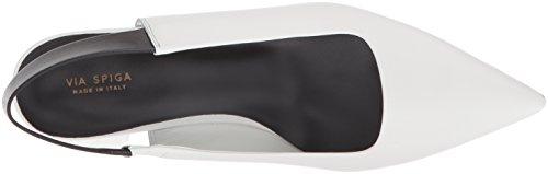 Leather Women's Spiga Blake Heel Slingback Via Black Kitten Pump Porcelain wUvf44q