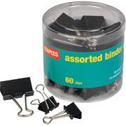 Staples® Binder Clips, Assorted Sizes, Black, 60 per Pack (Staples Paper Clips compare prices)