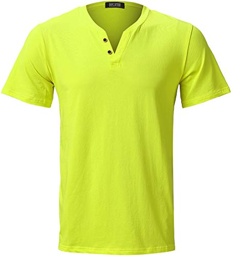 INFLATION Mens Elastic Slim Fit Short Sleeve Button V-Neck Causal T Shirt Light Green]()