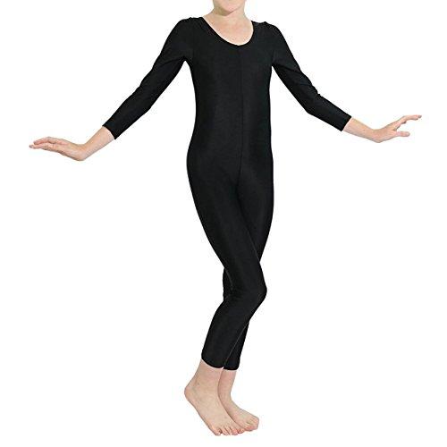 dPois Kids Big Girls Long Sleeves Full Length Gymnastics Dance Leotard Bodysuit Jumpsuit Unitard