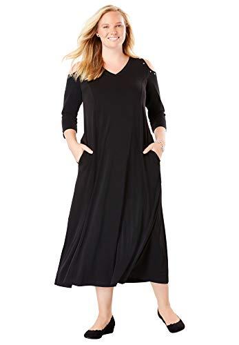 Woman Within Women's Plus Size Rhinestone-Trim Cold-Shoulder Dress - Black, 22/24