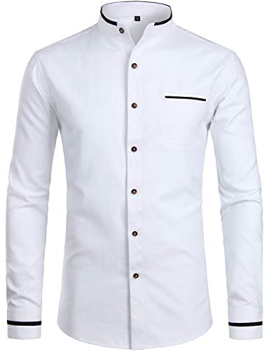(ZEROYAA Mens Hipster Mandarin Collar Slim Fit Long Sleeve Casual Button Down Oxford Dress Shirt with Pocket Z113 White Medium)