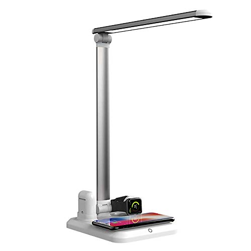 Desk Lamp Eye-Caring Table Lamps with Wireless Charger Addprime Touch Control Dimmable Office Lamp with USB Charging Port 3 Lighting Modes& 3 Brightness Levels for Officer/Student Portable Led Light