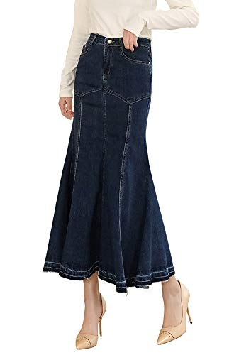 - LISUEYNE Women's Casual Stretch Waist Washed Denim Ruffle Fishtail Skirts Long Jean Skirt (Blue-276, Large)