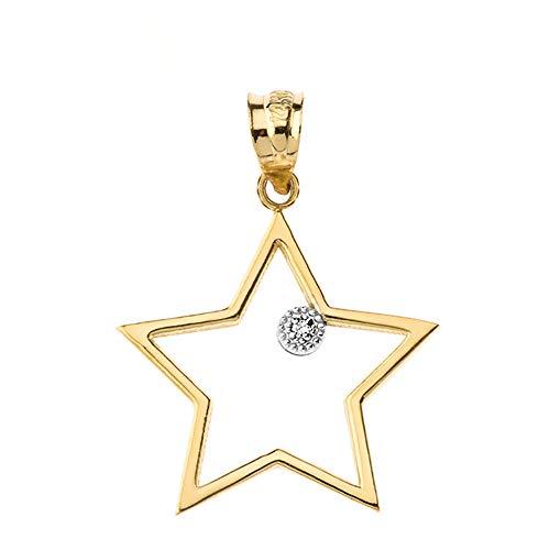(Fine 10k Yellow Gold Solitaire Diamond Star Outline Charm Pendant)