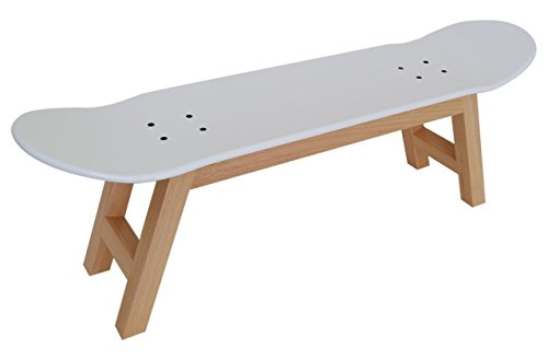Scandinavian Skateboard Stool, Skateboarder Gift Idea, Nordic decoration, White by SKATE HOME
