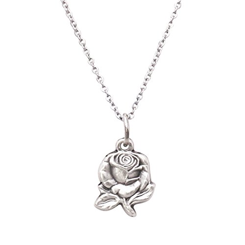 Rosemarie Collections Women's Religious Mary Medal Petite Rose Pendant Necklace