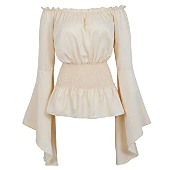 84b952151da557 Amazon.com: Womens Victorian Long Sleeve Boho Blouse Top Plus Size  Renaissance Shirt Gothic Ruffle Pirate Skirt Cosplay Costumes: Clothing