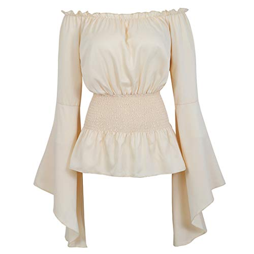 Womens Victorian Long Sleeve Boho Blouse Top Plus Size Renaissance Shirt Gothic Ruffle Pirate Skirt Cosplay Costumes Beige-L