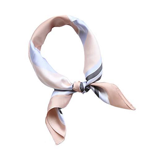 Womens Satin Square Silk Scarf Lightweight Fashion Scarfs Headscarf(23.6x23.6inch) (Gray+Pink)