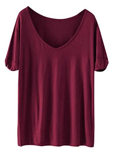 SheIn Women's Summer Short Sleeve Loose Casual Tee T-Shirt Burgundy#1 Small -