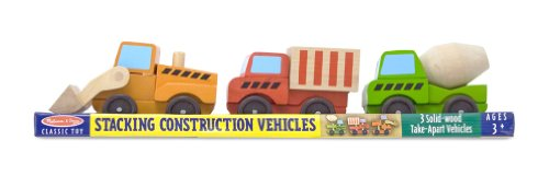 (Melissa & Doug Stacking Construction Vehicles Wooden Toy Set )