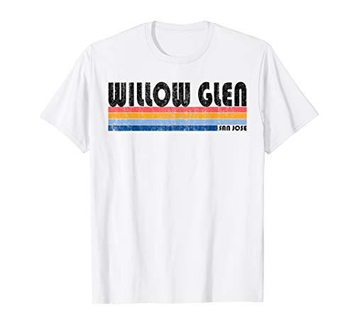 Vintage 1980s Style Willow Glen CA T-Shirt (Best Neighborhoods In San Jose Ca)