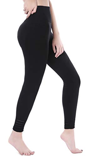 VISNXGI Womens Slim Tummy Control Yoga Pants High Waist Compression Tights Athletic Exercise Running Leggings Plus Size (Large), Black