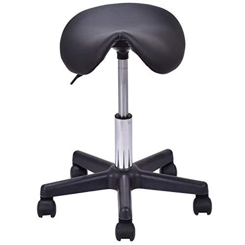 (KKK-3boss 4 Colors Adjustable Saddle Salon Stool Hydraulic Rolling Chair Modern Massage Tattoo Swivel Bar Stools,Hw55488Bk)