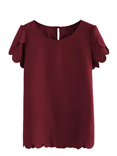 Floerns Women's Solid Scallop Hem Round Neck Short Sleeve Blouse Tops Burgundy M