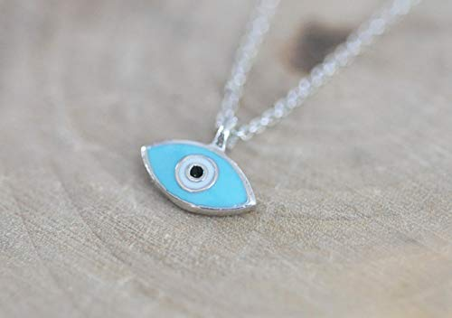 (Silver and Turquoise Blue Evil Eye Necklace in 925 Sterling Silver)