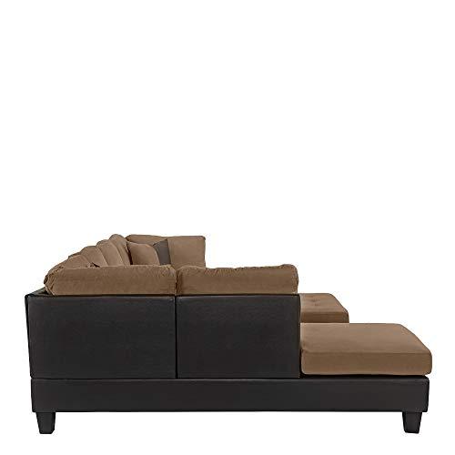 3-Piece Modern Reversible Microfiber / Faux Leather Sectional Sofa Set w/ Ottoman (Saddle)