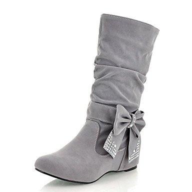 Botas de mujer invierno Comfort polipiel vestir casual talón plano Sparkl Rhinestone BowknotIng Glitter Rojo Amarillo Negro gris Gray