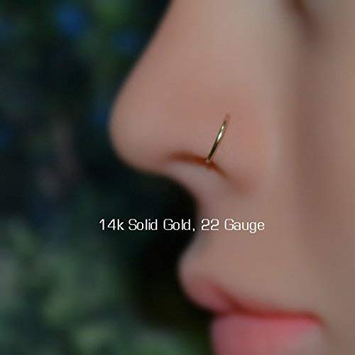 Nose Ring Helix Hoop Tragus Ring 20g Solid Gold Nose Hoop Nose Piercing Cartilage Earring Turquoise Tragus Earring Daith Ring