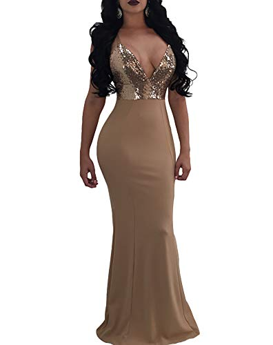 Women's Mermaid Semi Formal Dresses - Elegant Sparkly Long Evening Ball Gowns Medium Beige (Prom Gown Slim)