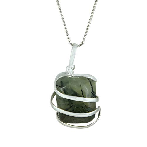 Prehnite Gemstone Pendant Necklace - Natural Crystal Healing | Stone of Intuitiveness| Solar Plexus & Heart Chakras| Helps Focus and Enhance Your Efforts to Seek Wisdom| Jewelry for Men & Women