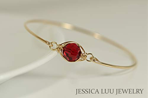 Gold Red Bangle Bracelet with Scarlet Swarovski Crystal Wire Wrapped Yellow or Rose Gold Filled Bracelet