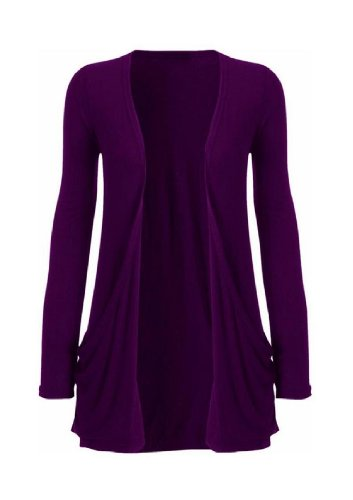 Hot Hanger Ladies Plus Size Pocket Long Sleeve Cardigan 16-26 (24-26 XXXL, Purple)