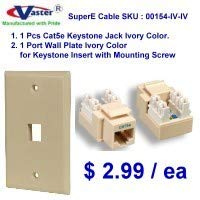 SuperEcable - 00154 - Cat5e Punch Down Keystone Jack Ivory Color, with 1port Rj 45 Keystone Wall Plate, Ivory Color ()