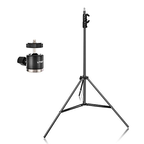 UTEBIT 9FT Lighting Stand with 360 Ball Head 2.6M Heavy Duty Photo Studio Stage Tripod Foldable Adjustable 88cm-260cm Light Stand Photography Kit with 1/4 Screw for Camera Video Lights from UTEBIT