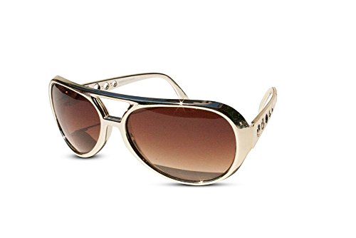 The King of Rock and Roll Elvis Presley Large Las Vegas Costume Sunglasses (Gold, Brown)