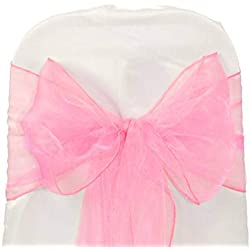 mds Pack of 50 Organza Chair sash Bow Sashes for Wedding and Events Supplies Party Decoration Chair Cover sash -Pink