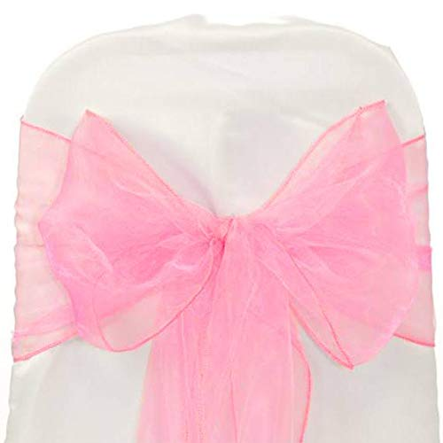 mds Pack of 100 Organza Chair Sashes Bow Sash for Wedding and Events Supplies Party Decoration Chair Cover sash ()