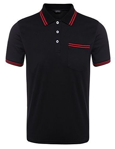 COOFANDY Mens Classic Fit Stripe Collar Short Sleeve Golf Polo Shirt