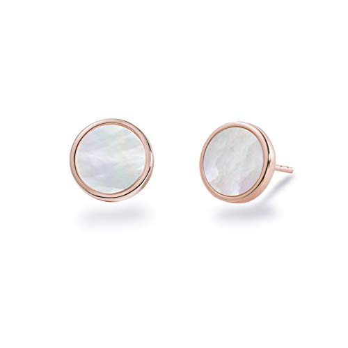 - S.Leaf Minimalism Mother of Pearl Stud Earrings Sterling Silver Round Disc Stud Earrings for Women (rose gold)