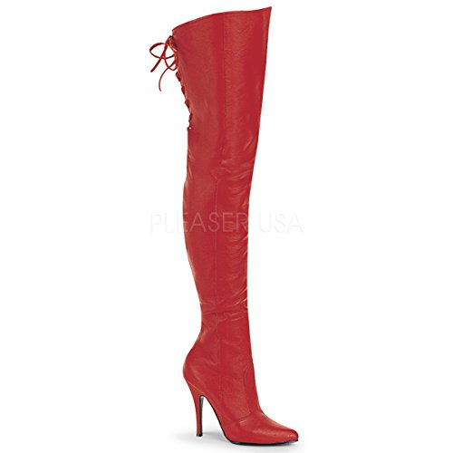 Pleaser Women's 5 Inch Thigh Boot with Lacing Detail at The Rear (Red Leather;8)