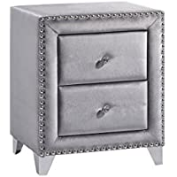 Meridian Furniture Sophie-NS Sophie Velvet Upholstered 2 Drawer Nightstand with Nailhead Trim, Crystal Handles, and Custom Chrome Legs, Grey