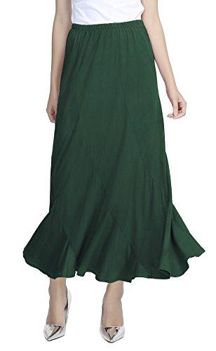 Urban CoCo Women's Vintage Elastic Waist A-Line Long Midi Skirt (XL, Dark Green)