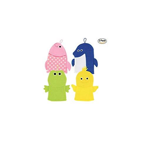 2 Bath Animal Puppet Washcloth Set. Baby Toddler Kids Bath Washcloth Animal Puppet. Duck, Fish, Shark & Frog Hand Puppets (Varies).