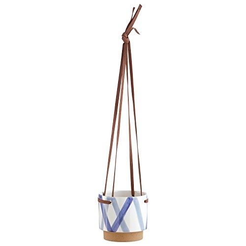 (Rivet Modern Ceramic Hanging Indoor Planter Pot with Leather Strap - 5.7 x 5.7 x 5.3 Inch, Blue and Ivory )