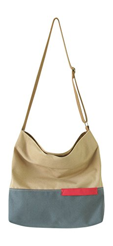 Handbag Canvas Tote (Canvas Tote Handbag Shoulder Bag Crossbody Bags Purses For Men And Women Shopping Tote Two Toned (Khaki Grey))