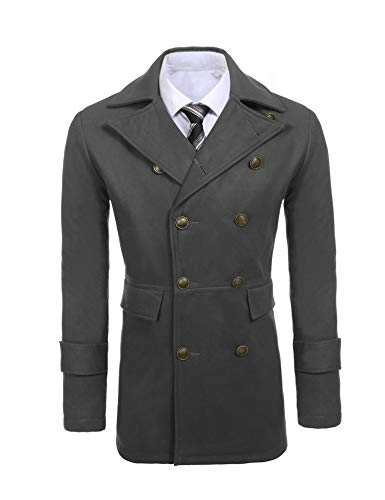 COOFANDY Mens Woolen Overcoat Double Breasted Long Length Notched Collar Trench Pea Coat