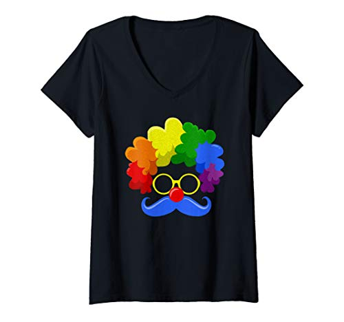 Womens Clown Face Costume Rainbow Colored Circus Fans Gifts V-Neck T-Shirt -