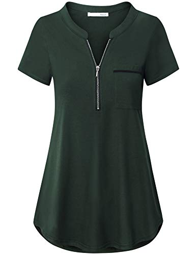 Messic Womens Dressy Tops and Blouses for Summer, Ladies Tunic Tops Banded Collared Sexy Deep V Neck T Shirts Zipper Up Polo Short Sleeve Tunic Shirt with Pocket Green XL ()