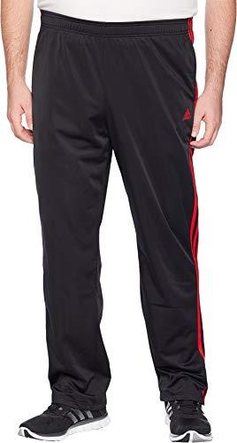 adidas Men's Big & Tall Essentials 3-Stripes Regular Fit Tricot Pants Black/Scarlet Large 34 Tall 34