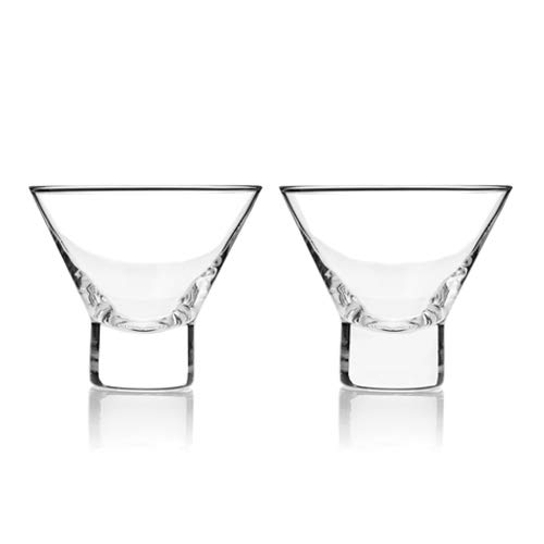 Glass Stemless Martini Glasses, Raye Crystal Modern Small Glasses Martini (Sold by Case, Pack of 4)