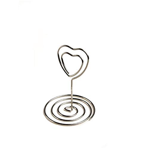 inch Sprial Base Memo Clips Holder with Heart Shape Clip Clasp for Tabletop Use ()