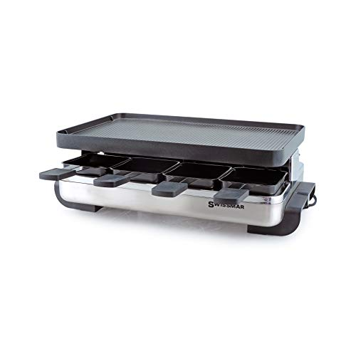 Swissmar KF-77080 Stelvio 8-Person Raclette with Reversible Cast Aluminum Non-Stick Grill Plate/ Crepe Top, Brushed Stainless Steel